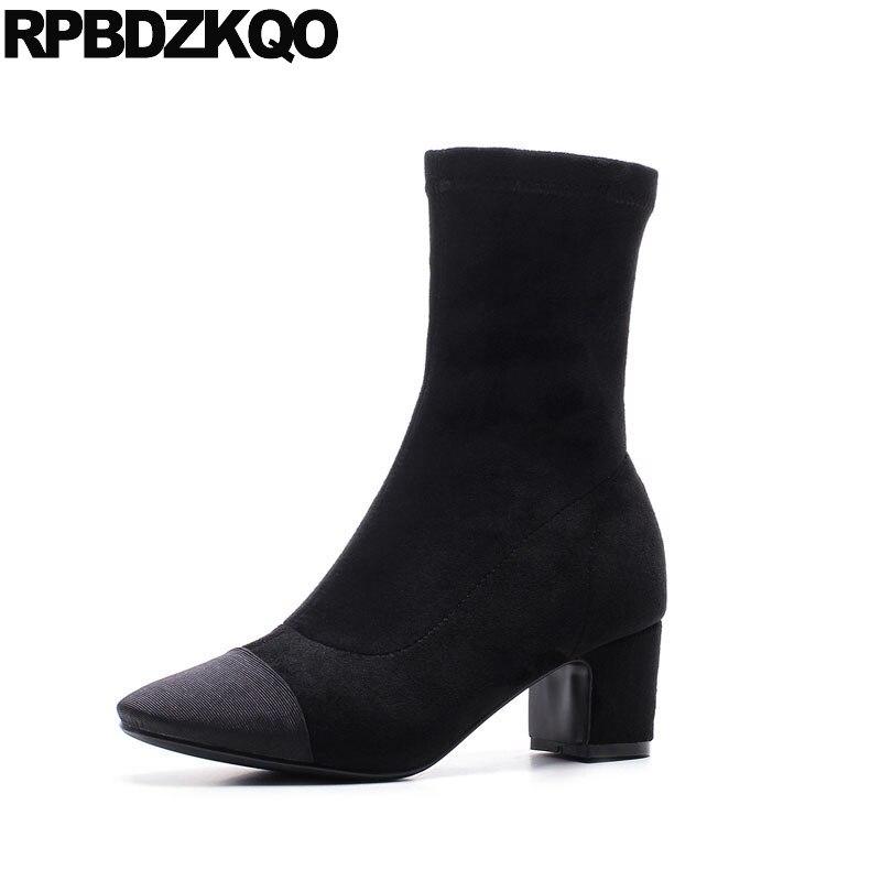 Square Toe Shoes Short Block Female Sheepskin Chunky Suede Winter 2017 Stretch Women Ankle Boots Medium Heel Designer Slip On slip on winter boots stretch lycra