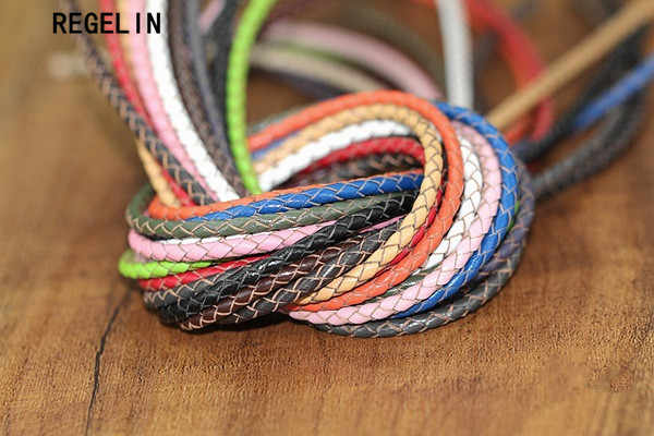 REGELIN 2Meter MuiltColor 3mm Round Genuine Braided Leather Jewelry Cord Cow leather Rope DIY Fashion Necklace Bracelet Findings