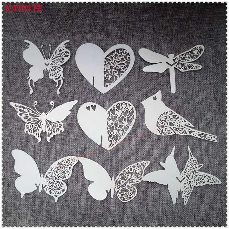 100pcs cake butterfly glass paper cup cards name place table card romantic new year party decoration
