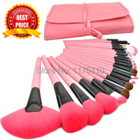 2014 Hot Goat Hair Professional Makeup Brush Set Pink Makeup Brushes 24PCS Set Including A Deluxe