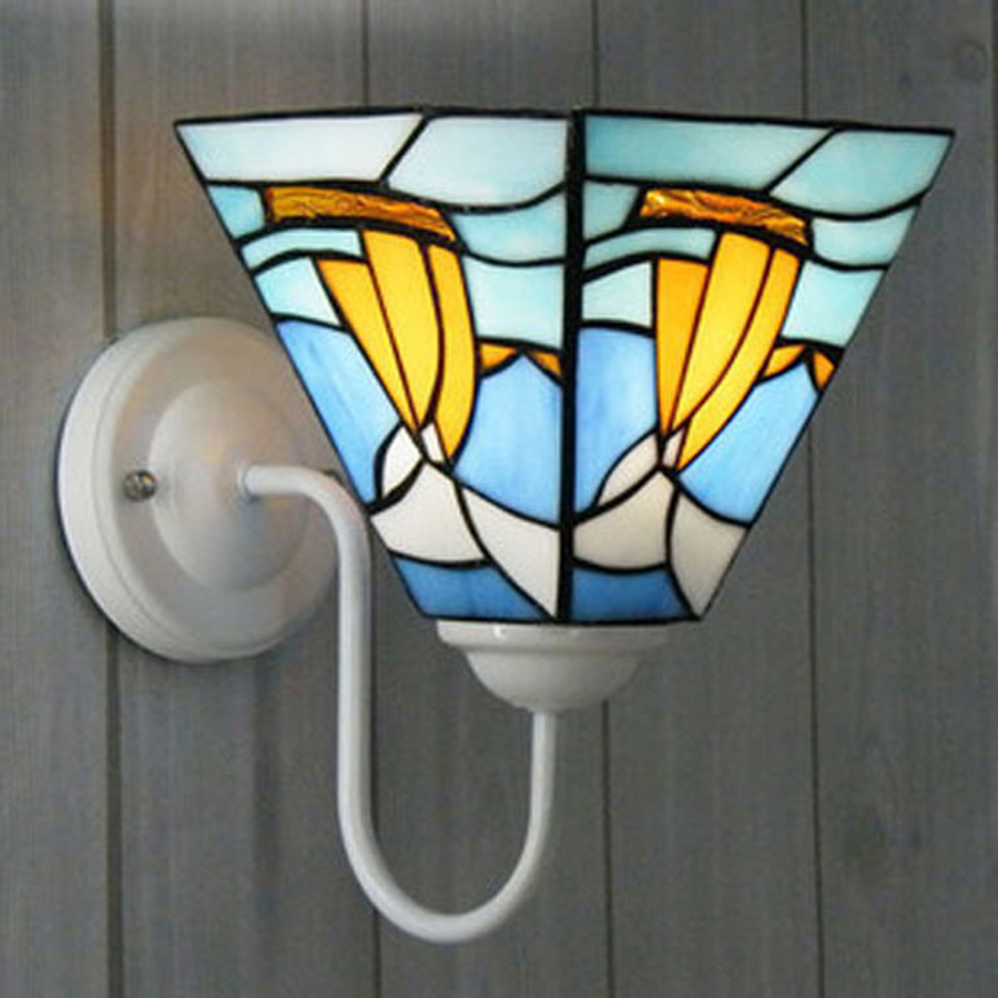 Mediterranean Tiffany zinc alloy stained glass wall lamp home decorations light bedroom aisle light bathroom mirror front lights tiffany baroque sunflower stained glass iron mermaid wall lamp indoor bedside lamps wall lights for home ac 110v 220v e27