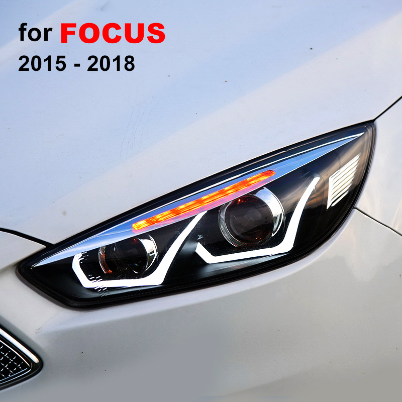 Headlight Assembly for Ford Focus 2015 2016 2017 2018 Left Right with LED DRL Running Light
