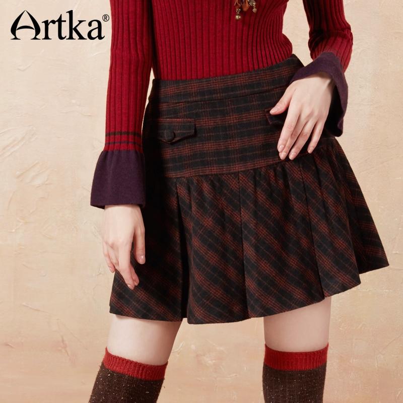Artka 2018 Autumn&Winter Vintage Casual All-match Black Plaid Skirt QA10075D