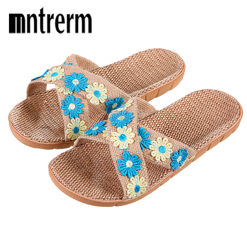 купить Mntrerm 2018 Fashion Flax Home Slippers Indoor Floor Shoes Cross Belt Silent Sweat Slippers For Summer Women Sandals Florer по цене 485.5 рублей