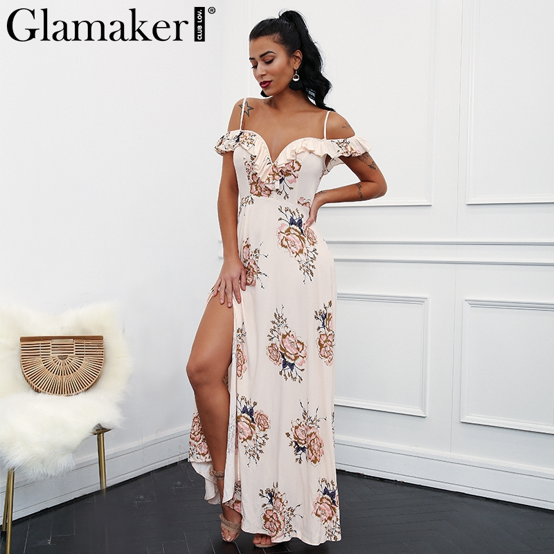 Glamaker High split flower summer dress Women print maxi beach dress vestido de festa Female ruffle sexy long dress sundress