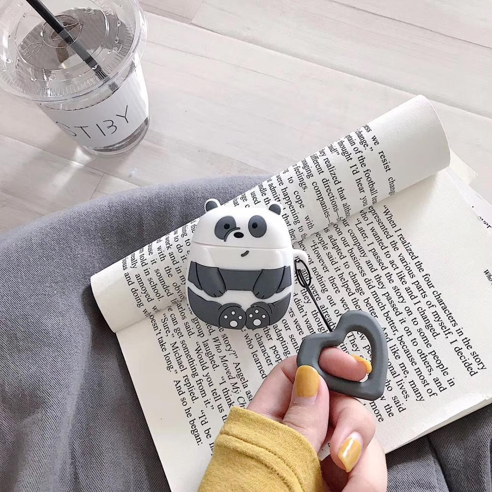 A Case 10pcs//lot Cartoon Panda Solar Bear Earphone Case for Airpods 1//2Genereation Shockproof Anti-dust Silicone with Ring Strap-C