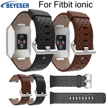 Round hole Leather replacement WatchBands For Fitbit Ionic classic Watch Band Bracelet wristband For Fitbit Ionic Watchstrap for fitbit ionic sport watches straps silicone strap watch band bracelet replacement for fitbit ionic smart watch wristband belt