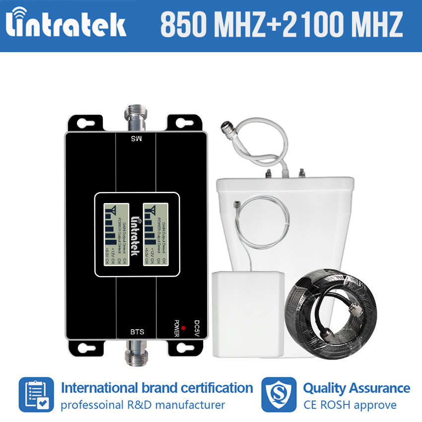 Lintratek 2G GSM CDMA 850 3G 2100mhz WCDMA UMTS 2100 MHz Double Band Cell Phone Signal Booster Improve Repeater Amplifier Kit #8Lintratek 2G GSM CDMA 850 3G 2100mhz WCDMA UMTS 2100 MHz Double Band Cell Phone Signal Booster Improve Repeater Amplifier Kit #8