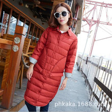 2016 Women's Clothing New Autumn Winters  Recreational Van Lapel Easing Down Jacket Female Long Over-the-knee Feather Coat