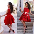 Red Cocktail Dresses Short Prom Party Gowns Jewel Neck Sleeveless Ruffled Skirt  A Line Homecoming Wear with Handmade Flowers