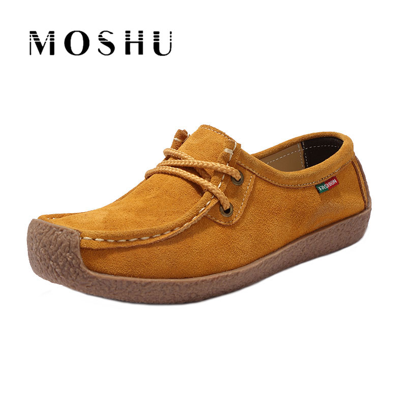 Women Genuine Leather Moccasins Flats Lace Up Loafers Square Toe Casual Shoes Zapatos Mujer Size 35-42 plus size 34 42 new genuine leather women shoes lace up totem flats square toe handmade creepers oxford shoes woman casual shoes