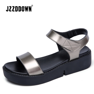 Image 3 - נשים דירות פלטפורמת סנדלי נעלי עור אמיתי גבירותיי רסיס סניקרס נעל 2018 קיץ אופנה פלטפורמה גבוהה העקב הנעלה
