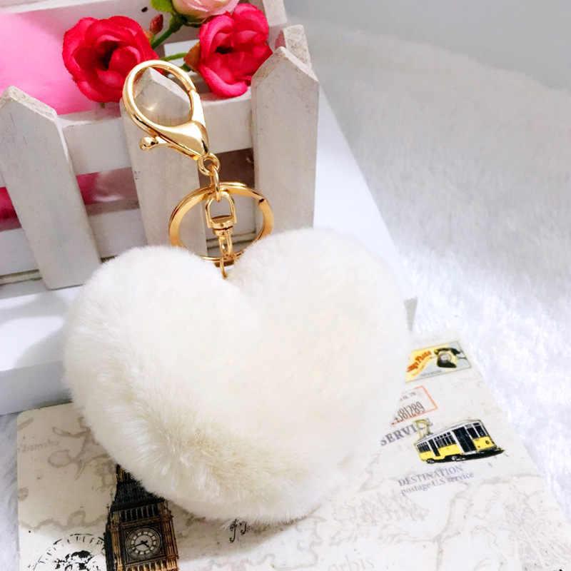 Venda quente 8CM Comprimento Encantador da Forma Do Coração de Coelho Bola De Pêlo PomPom Chaveiro Carro Pingente de Bolsa de Telefone Celular de Ouro Charme anel chave