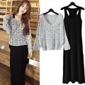 2016 popular Primavera da Coréia Do estilo Mulheres Long-sleeved camisola + vestido Maxi mulheres Terno Ocasional Magro Mulheres 2 Peça Conjunto de roupas 3 cor
