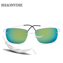 100% Titanium Silhouette sunglasses Polaroid super Light Brand Designer Rimless Polaroid Gafas Men Polarized Sun glasses eyewear