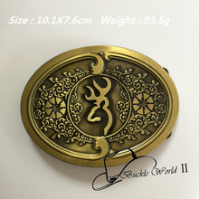 Retail & Wholesale New Style Oval Fashion Men's Belt Buckles 101*76mm 93.5g Yellow Metal For 4cm Wide Belt Jeans equipment