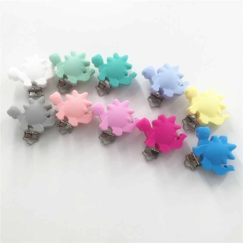 Chenkai 50PCS BPA Free Silicone Dinosaur Baby Pacifier Dummy Teether Chain Holder Clips DIY Soother Nursing Toy Accessories in Pacifier from Mother Kids