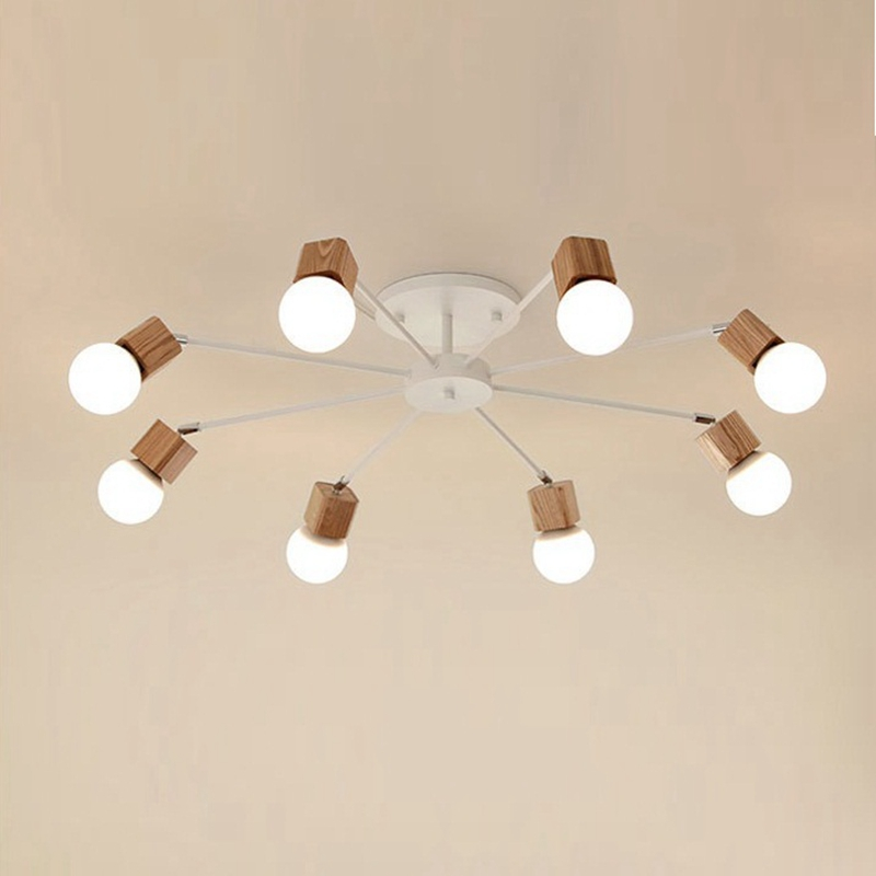 LukLoy Ceiling Light Lamp Apartmet Kitchen Island Dining Living Room Shop Decoration Simple Modern Wood Hanging