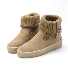 women fashion winter boots woollen yarn knit bootees leather boots for girls women double use