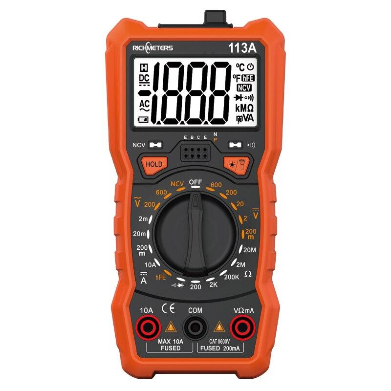 RICHMETERS RM113A NCV Multimetro Digitale 2000 conta HFE AC/DC tester di tensione Flash di luce luce Posteriore di Grandi Dimensioni Dello Schermo