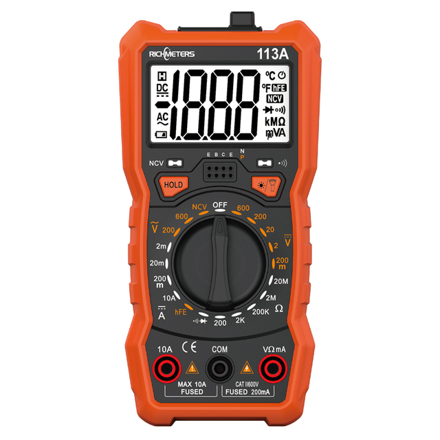 RICHMETERS RM113A NCV Digital Multimeter 2000 counts HFE AC/DC voltage meter Flash light Back light Large Screen