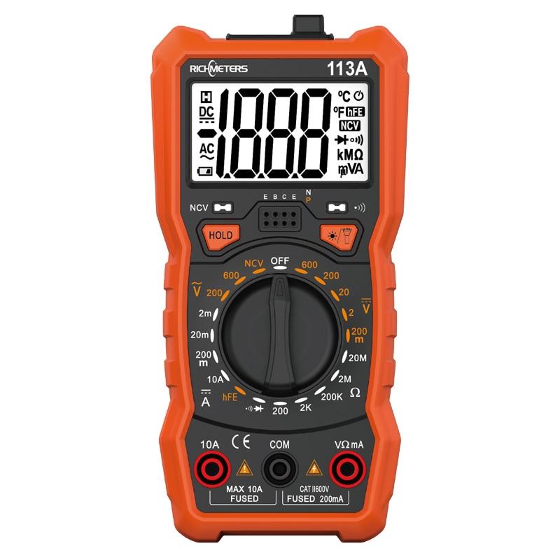 RICHMETERS RM113A NCV Digital Multimeter 2000 zählt HFE AC/DC spannung meter-licht Zurück licht Großen Bildschirm