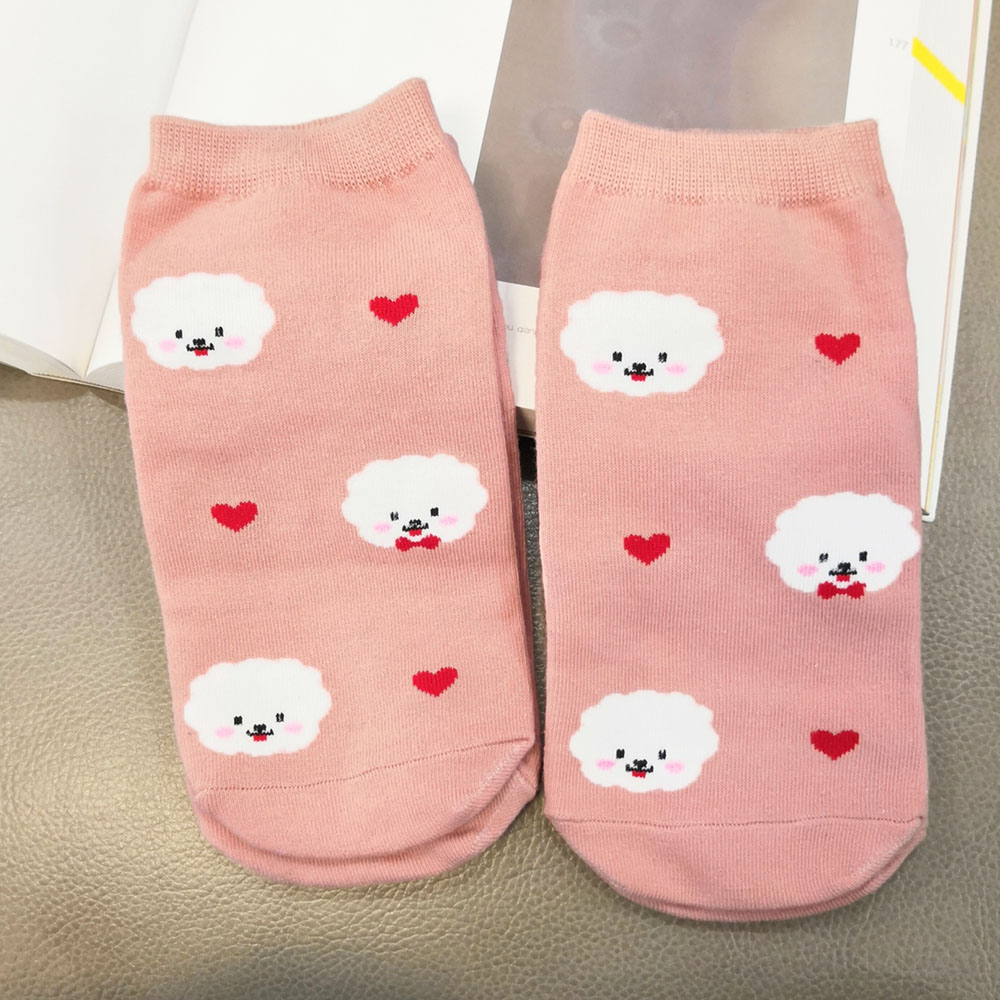 cute women Bichon Frise ankle socks cartoon pink socks with dog lover gift idea sweet puppy