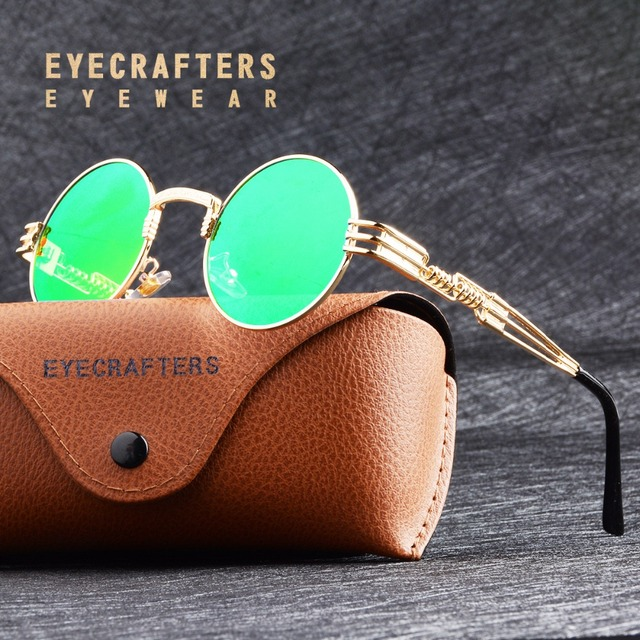 82faacea1544 Fashion John Lennon Round Steampunk Sunglasses Men Women Metal Frame Retro  Vintage Coating Mirrored Eyewear Glasses Shades