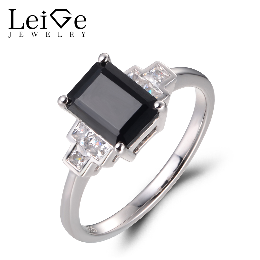 68d01d44ef941 US $55.2 40% OFF Leige Jewelry Natural Black Spinel Rings Vintage Cocktail  Rings Emerald Cut Rings Bezel Setting Rings Solid 925 Sterling Silver-in ...