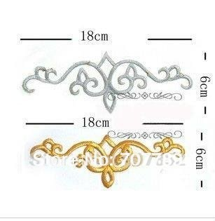 2012 new style gold silver Embroidery patterns, DIY decals,Clothing applique free shipping Wholesale / retail 18cm x 6cm