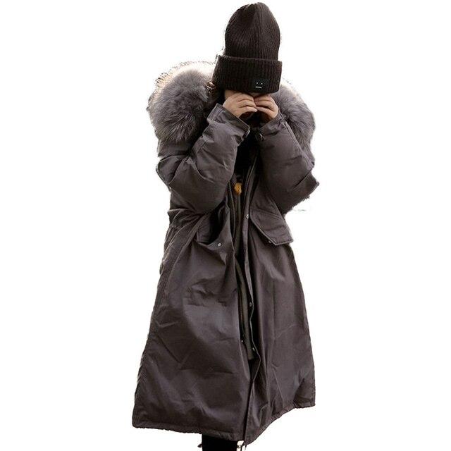 Winterjas Met Grote Capuchon.Winterjas Vrouwen Grote Bontkraag Capuchon Lange Jas Dikker Warme
