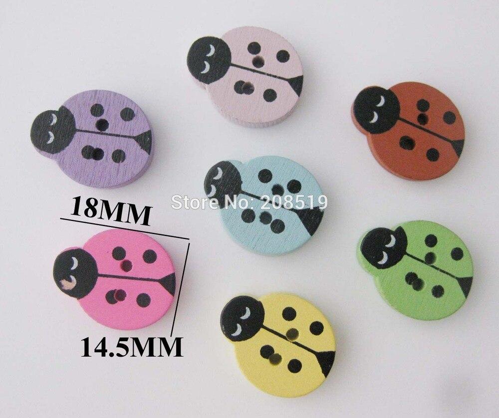 ③Wbnkao pintura botones de madera para coser 200 unids mariquita ...