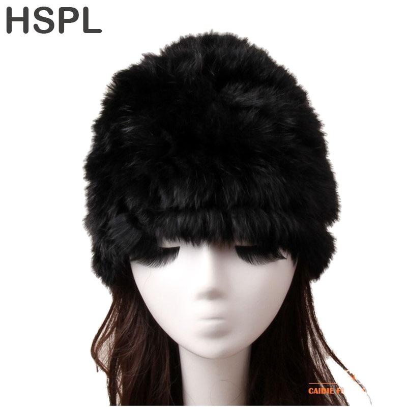 HSPL Fur Hat Women's Hat Natural Knitted Genuine Rabbit Fur Winter Hats For Women Fashion Cap Warm Beanies Lady headwear  Bone