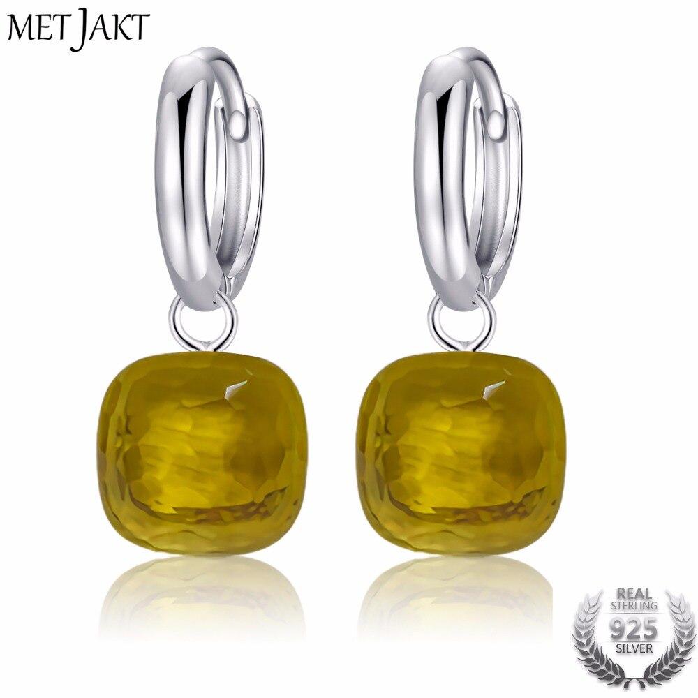 MetJakt Fashion Yellow Topaz Drop Earrings Solid 925 Sterling Silver Pendant Earring for Ladies Wedding Party Luxury Jewelry