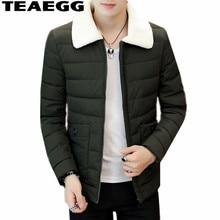 TEAEGG High Quality Short Cotton Army Green Jacket Men Winter Coat Parka Blouson Homme Men's Winter Jackets Male Clothing AL553