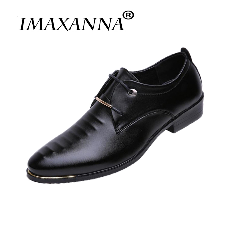 IMAXANNA Luxury Brand Leather Mens Dress Shoes Fashion Pointed Toe Lace Up Mens Business Casual Shoes Black Oxfords Shoes