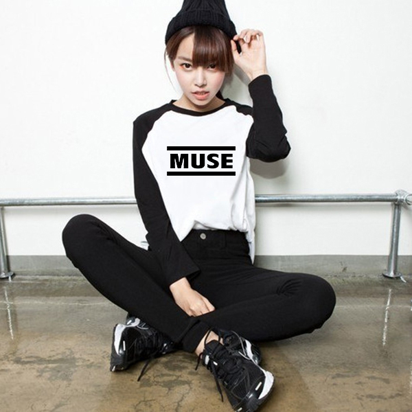 Estilo suelto Música Rock Muse Mujeres PVC Impresión de la Letra de La Camiseta larga Para Mujer Camiseta de Manga Larga Camisetas Tee Ropa
