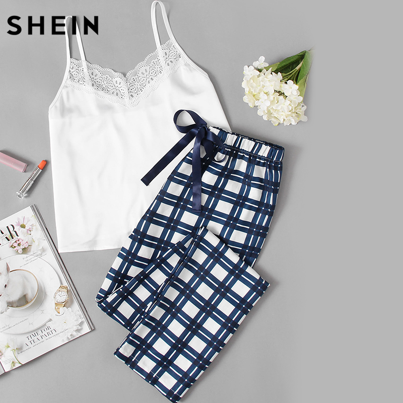 SHEIN Woman Pajamas Set Sleepwear White Spaghetti Strap Sleeveless Lace Embellished Cami Plaid Pants Pajama Set