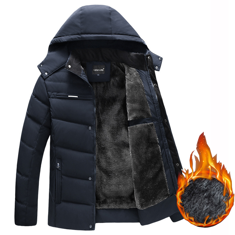 Thick Warm Winter Jackets Men 2019 New Middle-aged Mens Parka Coat Hooded Business Casual Slim Male Outwear