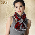 Autumn Winter Ladies' Real Natural Knitted Rex Rabbit Fur Scarves Women Fur Neckwarmer Wedding Bridal Wraps VF0490