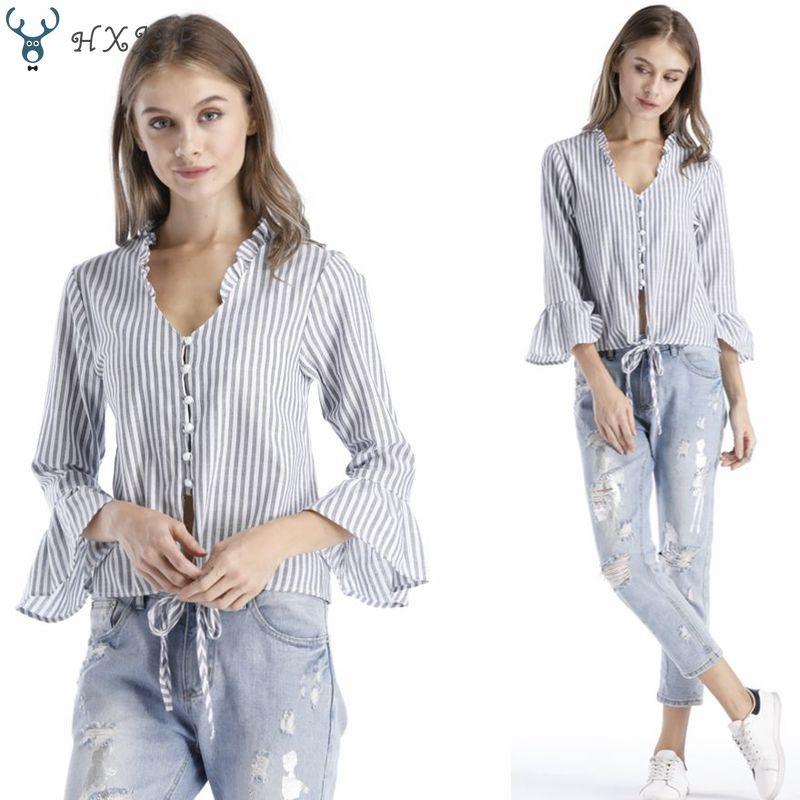 HXJJP Spring Summer  Long-sleeved Pearl Single-row Button-down Women