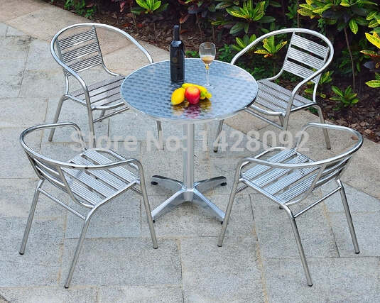 Balcony table and chairs for outdoor stainless steel coffee table combination of simple and casual aluminum patio furniture sets чулки белые bianco 3 4