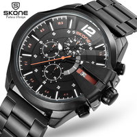 SKONE Chronograph Sport Watches Men Luxury Top Brand Outdoor Casual Leather Strap Watch 6 Hands Quartz