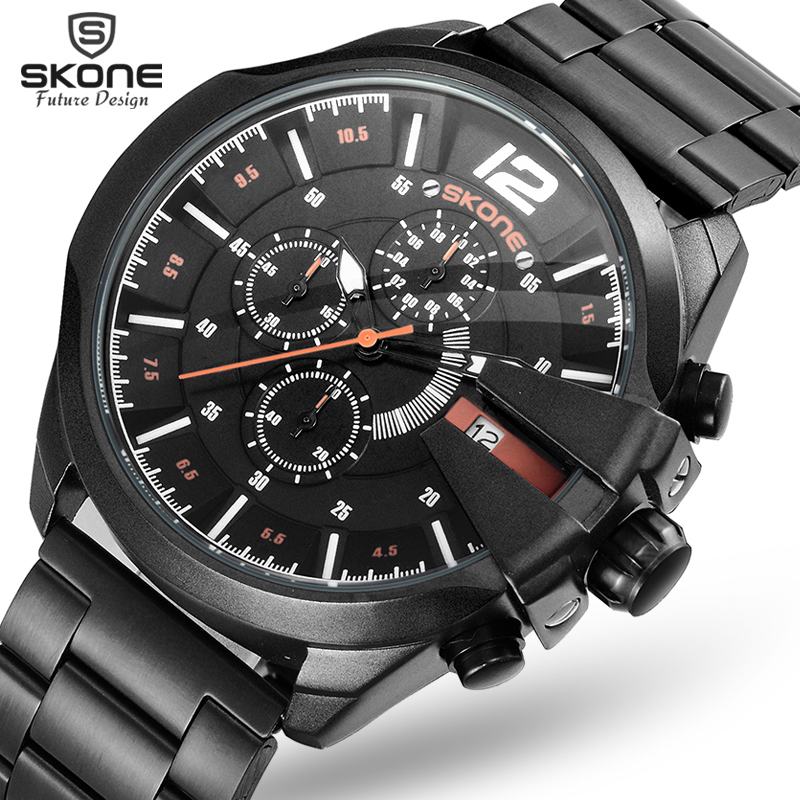 SKONE Sub Dial Work Chronograp Stainless Steel Strap Business Watch Quartz Luxury Sport Watch Men Brand Watch relogio masculino multifunction sub dial orkina men vogue luxury quartz watch golden mesh metallic strap blue round dial hot sale classic gift