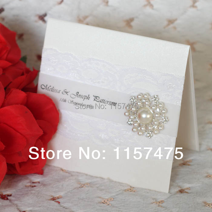 HI1009 White Lace Wedding Invitations with Pearl Brooch ...