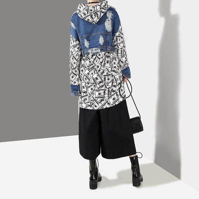 new styles cea69 f9f36 Runway Frauen Winter Pullover Sweatshirt Hoodies Denim Patchwork Übergroßen  Greenback Muster Drucken