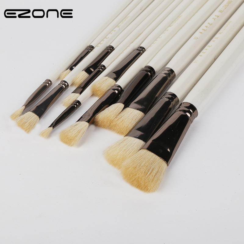EZONE 1 PC Paint Brush Wool Hair Wooden Handel Different Size Brushes For Watercolor Oil Gouache Acrylic Painting Art Supply