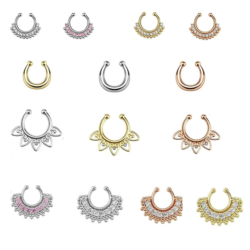 100pcs Mixed crystal nose stud indian famous brand nose hoop rings ...