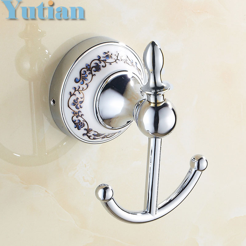 Free Shipping Robe Hook Clothes Hook zinc ceramic Construction with Chrome finish Bathroom hook Bathroom Accessories