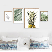 Nordic Poster Canvas Schilderij Ananas Groen Blad Canvas Prints Citaat Muur Pictures Posters En Prints Home Deco Unframed(China)